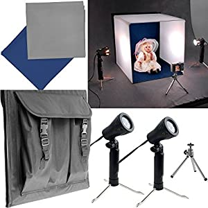 "{Make Your Own Home Studio} Studio Photography Lighting Table Top Square Tent Kit Includes: 16"" Tent + 2 Tabletop Lights + Blue & Grey Color Backdrop + Tripod"
