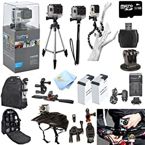 GoPro Hero3+ Silver Edition ATV/Bike/Helmet Kit: Kit Includes Pro Series All In 1 ATV/Bike Kit + 50' Tripod + 27' Monopod + Gripster + 32GB Micro SD Card + Mount Adapter + 2 Extended Batteries with Charger + Deluxe Camera Backpack and a Global Distributions Cleaning Cloth (Helmet Not Included)