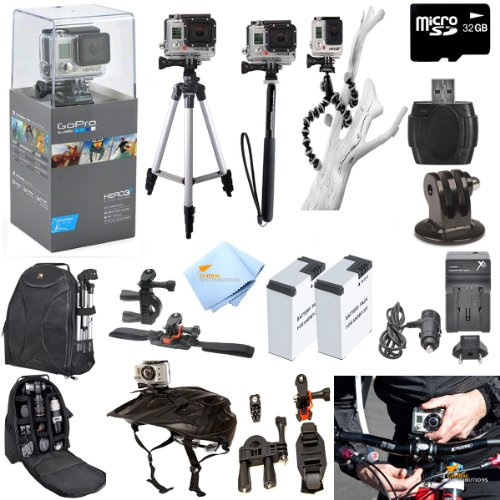 Gopro Hero3+ Silver Edition Atv/Bike/Helmet Kit: Kit Includes Pro Series All In 1 Atv/Bike Kit + 50' Tripod + 27' Monopod + Gripster + 32Gb Micro Sd Card + Mount Adapter + 2 Extended Batteries With Charger + Deluxe Camera Backpack And A Global Distributio front-156417