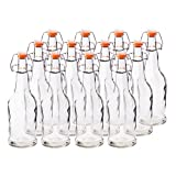 HomeEquip 12 Pk, 16 Oz Glass Home Brewing Bottles System- Grolsch-Style: Also used as a Wine Fermenter, Reusable kombucha Tea Bottle & Easy Seal Swing Top Cap Root Beer Bottles (Clear)