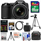 Nikon Coolpix L820 Digital Camera (Black) - Factory Refurbished with 16GB Card + Batteries & Charger + Case + Tripods + HDMI Cable + Accessory Kit