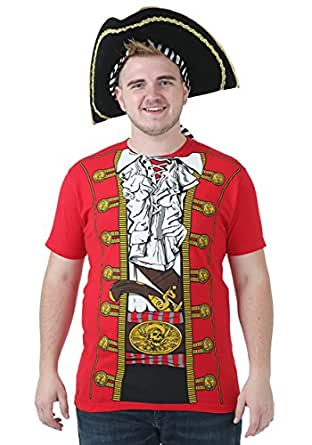 Red Pirate Captain Costume Shirt