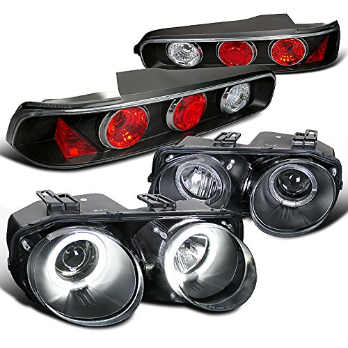 Acura Integra Coupe Black Halo Projector Headlights+Tail Brake Lights (Halo Headlights Integra compare prices)