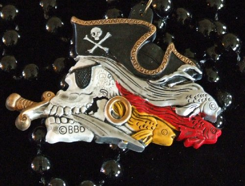 Pirate Skull New Orleans Mardi Gras Beads Dagger Fish Eye Patch