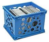 Storex Mini Crate, 9 x 7.75 x 6 Inches, Blue, Case of 3 (STX61583U03C)