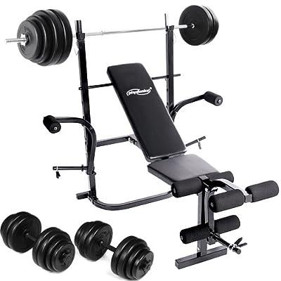 Hantel-Set bestehend aus Hantelbank + 30kg Kurzhantel + 60kg Langhantel inkl. Gewichte