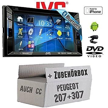 Peugeot 207 307 - JVC KW-V220BTE - CD DVD Bluetooth MP3 USB Autoradio - Einbauset