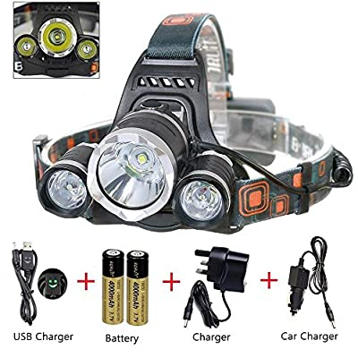 MAIGG 5000 Lumen Bright Headlight Headlamp Flashlight Torch 3 CREE XM-L2 T6 LED with Rechargeable Batteries and Wall Charger for Hiking Camping Riding Fishing Hunting