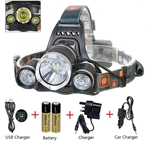 MAIGG-5000-Lumen-Bright-Headlight-Headlamp-Flashlight-Torch-3-CREE-XM-L2-T6-LED-with-Rechargeable-Batteries-and-Wall-Charger-for-Hiking-Camping-Riding-Fishing-Hunting