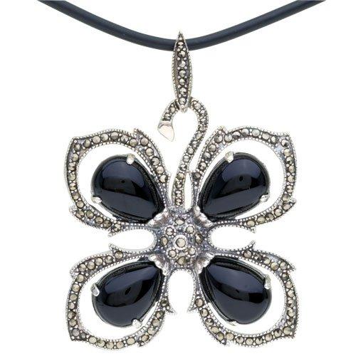 925 Sterling Silver Four-Petal Flower Pendant