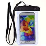 Blue Waterproof Pouch Dry Bag Case for HTC One M8 / HTC ONE M7 / HTC ONE MINI and other HTC smartphone + VanGoddy Headphone with MIC White
