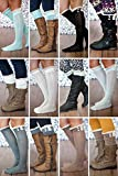 Our World Boutique Womens Crochet Lace Trim & Buttons Knit Boot Socks