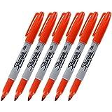 Sharpie Permanent Marker, Fine Point, Orange, Pack of 6