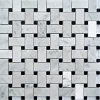 White Marble Basketweave 1x2