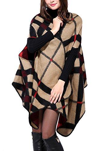 Inverno reversibile donna coperta Poncho Cape scialle sciarpa oversize Brown F