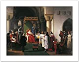 WallsnArt, Figurative Modern Framed Art Work Painting With out glass,Filippo Maria Visconti, Duke Of Milan Returns Crown To Kings Of Aragona And Of Navarra, Taken Prisoner By Genoese, By Francesco Hayez (1791-1882)