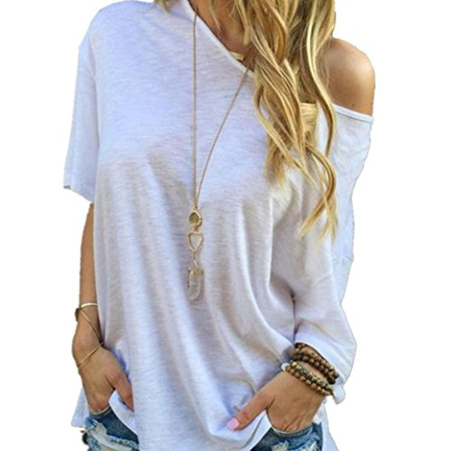 Kwok Blouse,Women's Sleeve Casual Tops T-Shirt White (XXL)