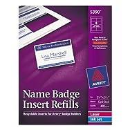 Additional White Laser/Inkjet Insert for Badge Holder,2 1/4 x 3 1/2,White,400/BX