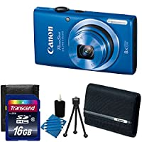 Canon PowerShot ELPH 115 16MP Digital Camera HD video (Blue) With Canon Deluxe Soft Camera Case + 16GB Complete Deluxe Bundle by Canon
