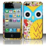 Blue Yellow Owl Hard Case Snap On Rubberized Cover For Apple iPhone 4 / 4S
