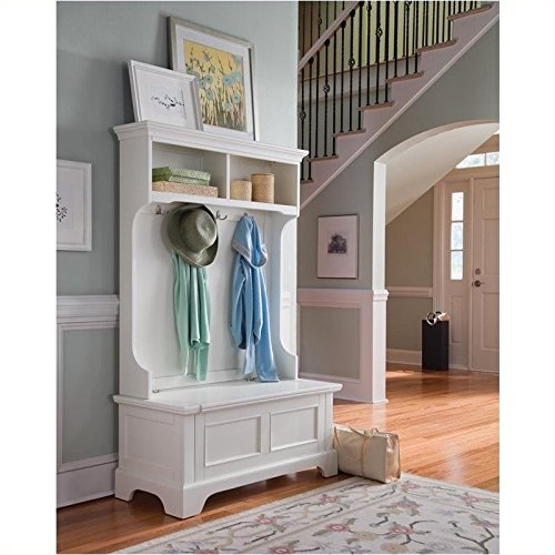 Home Styles 5530-49 Naples Hall Tree, White Finish (Entryway Furniture With Storage compare prices)