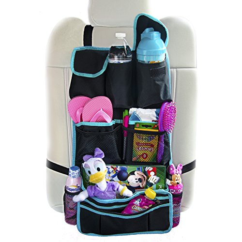 Backseat Organizer For Kids By Lion Heart Premium Quality Black Durable Waterproof Material, Luxury Car Seat Protector Works as Kick Mat For Children, Makes Baby Traveling Comfortable, Safe, Has Detachable Pocket, Organize Pet Gear, Books, Keep Ipad, Stroller Items Organized - 1