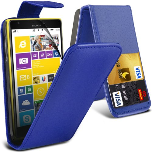 ( Blue ) Nokia Lumia 1520 Premium Faux Credit / Debit Card Slot Leather Flip Skin Case Cover & Lcd Screen Protector Guard By Fone-Case
