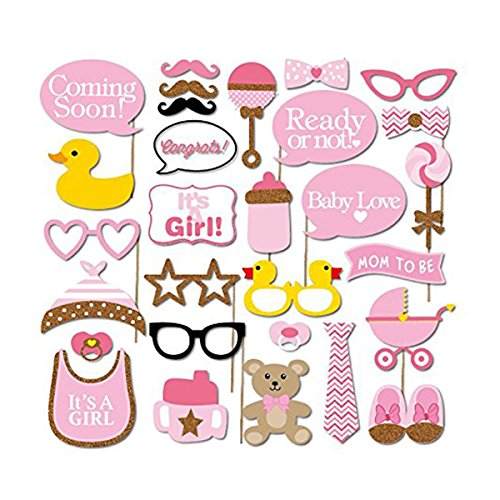 Tinksky 29pcs Baby Shower Photo Props, Baby Bottle Masks Pink Photobooth Props Newborn Girl Gift Party Decorations (Photo Booth Props Baby Shower compare prices)