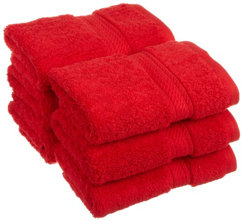 Superior 900 Gram 100% Premium Long-Staple Combed Cotton 6-Piece Face Towel Set, Red (Red Hand Towels compare prices)