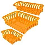 Set of 3 Mini Plastic Organizer Baskets in Assorted Shapes (ORANGE)