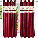 Story@Home 5 feet Set of 2 happiness 2 Piece happiness Plain Pattern Ice Crush Curtains Maroon