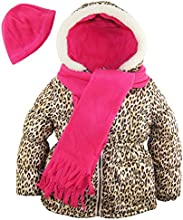 Pink Platinum Little Girls39 Leopard Print Puffer Coat Hat and Scarf Set