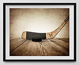 Vintage Hockey Stick and Puck on Vintage Background Fine Art Photography Print, Sports Decor, Hockey Nursery decor, Man Cave art, Vintage Sports Nursery Art, Hockey artwork