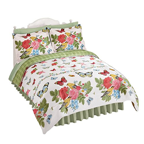 Abigail Rose, Bird and Butterfly Comforter Set, Multi, Full/Queen