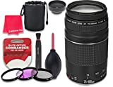 Canon EF 75-300mm f 4-5.6 III Lens for Canon DSLR Cameras - International Version (No Warranty) + 3pc Filter Kit (UV - FLD - CPL) + 3pc Accessory Kit w Celltime Cleaning Cloth
