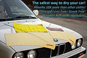 CARFIDANT UltraSoft (LARGE 3pcs Kit) Car Drying Towel Chamois + Microfiber Cloth - For Car Wash and Automotive Drying and Detailing - Includes Large & Medium Shammy + Microfiber Cleaning Cloth!