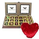 Valentine Chocholik's Belgium Chocolates - Chocolate Melodies With Heart Pillow