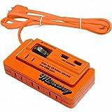 MERCURY マーキュリー 2m延長コード 4口コンセント 2口USBポート オレンジ