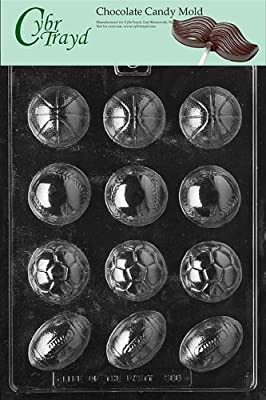 Cybrtrayd S088 Ball Assortment (Baseball/Soccer/Football/Basketball) Chocolate Candy Mold with Exclusive Cybrtrayd Copyrighted Chocolate Molding Instructions