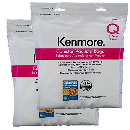 Ultracare Kenmore Q Canister Hepa Cloth Bags. Will Also Fit/Replace Kenmore Type C (5055,50558) Vacuum Bags 4 pk (2 boxes = 4 bags) (Kenmore Progressive Hepa Vacuum compare prices)