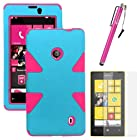 MINITURTLE, Dual Layer Tough Skin Dynamic Hybrid Hard Phone Case Cover, Clear Screen Protector Film, and Stylus Pen for Windows Smart Phone 8 Nokia Lumia 521 /T Mobile /MetroPCS (Baby Blue / Pink)