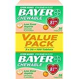 Bayer Low Dose Chewable Aspirin, Orange, 108 Count