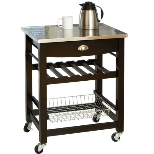 Image of Dexter Black and Metal Kitchen Island (B006WRMVVQ)