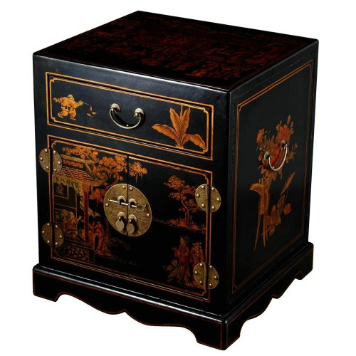 Cheap EXP Handmade Oriental Furniture 24-Inch Antique Style Black Leather Mandarin End Table/Nightstand (frc5000)