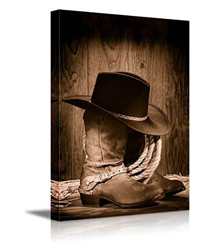 wall26-canvas-prints-wall-art-american-west-rodeo-cowboy-black-felt-hat-atop-worn-western-boots-vint