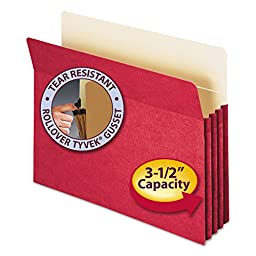 Smead Products - Smead - 3 1/2 Expansion Colored File Pocket, Straight Tab, Letter, Red - Sold As 1 Each - 6 1/2 high gussets reinforced at top with Tyvek strip. - Back of pocket lined with Manila for additional strength and identification of subject. -