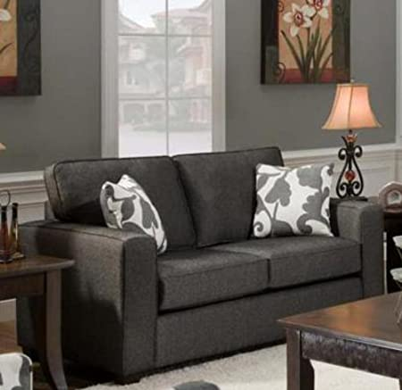 Chelsea Home Furniture Bergen Loveseat, Upholstered in Talbot Onyx/2 Throw Pillows in Marcie Onyx