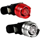 Cade Red and White High Intensity LED Aluminum Alloy Waterproof Led Front and Rear Bicycle/bike Safety Light Set, 1 White Headlight (Front Light) and 1 Red Taillight (Rear Light) for Cycling Safety Flash Light/dual-safety Protection