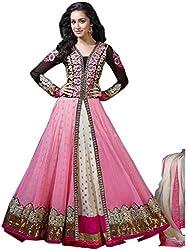 Isha Enterprise Women's Net Dress Material(SH-028_Pink)