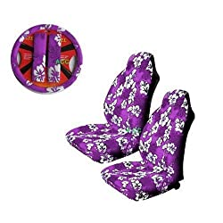 A Set of 5 Pc. Universal-fit Hawaiian Hibiscus Floral Print Front Bucket Seat Cover, Steering Wheel Cover and Shoulder Harness Pressure Relief Cover - Purple